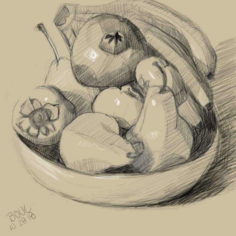 Bowl of Fruit on Toned Paper, Digital Sketch in Procreate