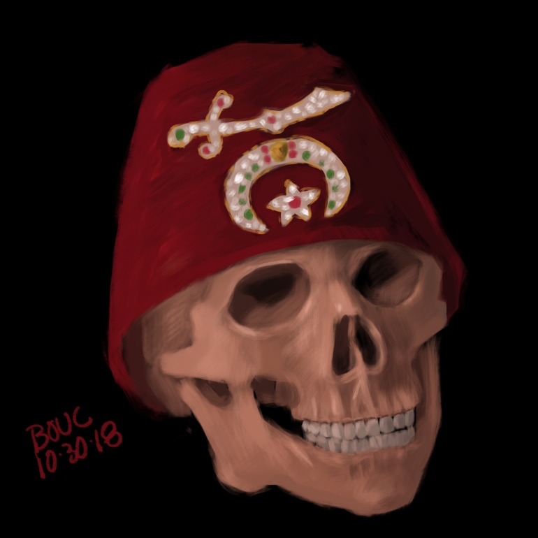 Bonus Skull sketch...Morton Skullman in Grandpa's Mason Fez in Procreate