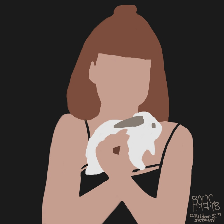 Hildur and her bunny, Procreate on iPad