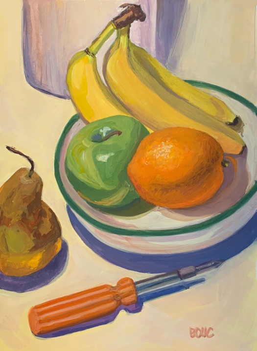 Fruity Still life, Gouache in Strathmore Mixed Media Journal, 8.5 x 11 inches