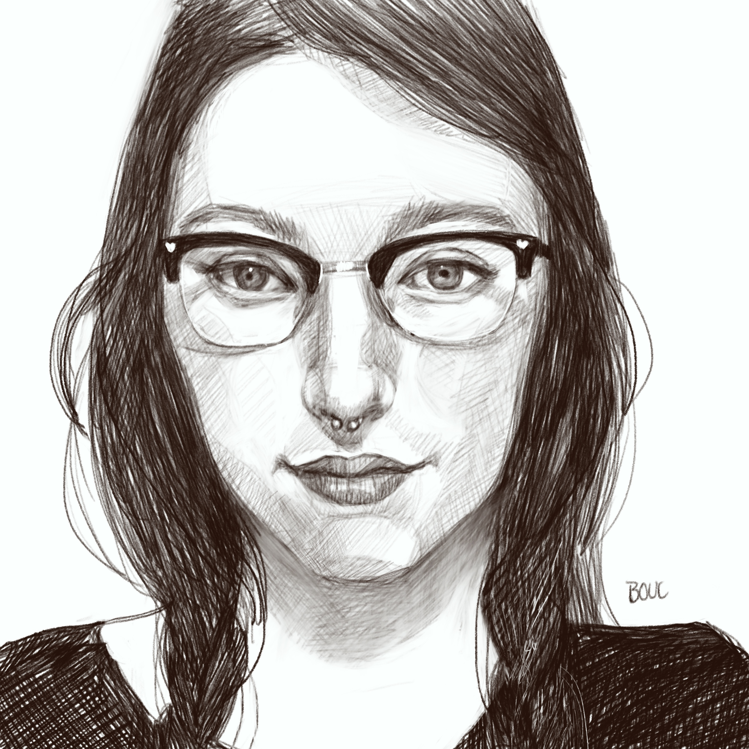 Sketch of artist Makenna Snyder from her photo on Sktchy app in Procreate