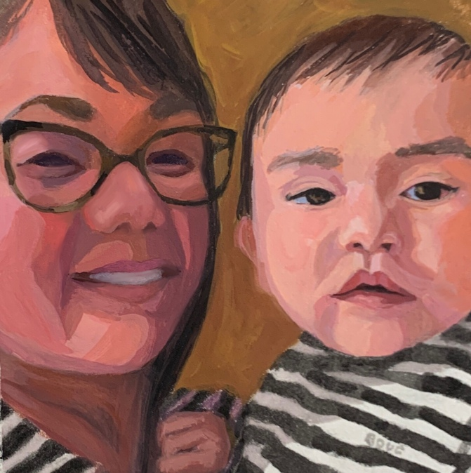 "Cute Grandma and Baby: People Facebook Says I Should Know #5."" Gouache, 6.5 x 6.5 inches"