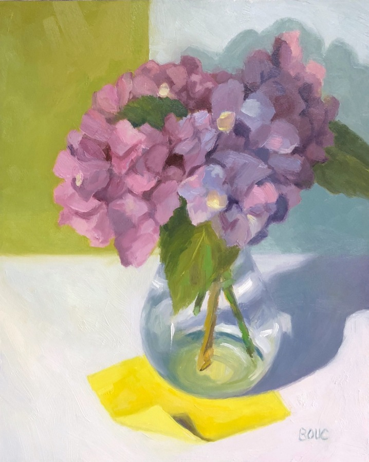 "Hydrangeas with Post-it Note, oil on Gessobord panel, 10x8"" Available"