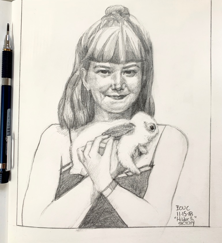 Hildur and her bunny, graphite on paper 8.5 x 11 inches