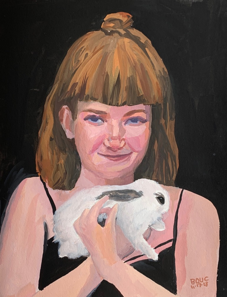 "Painting of Hildur and her bunny from in gouache, 8.5 x 11""."