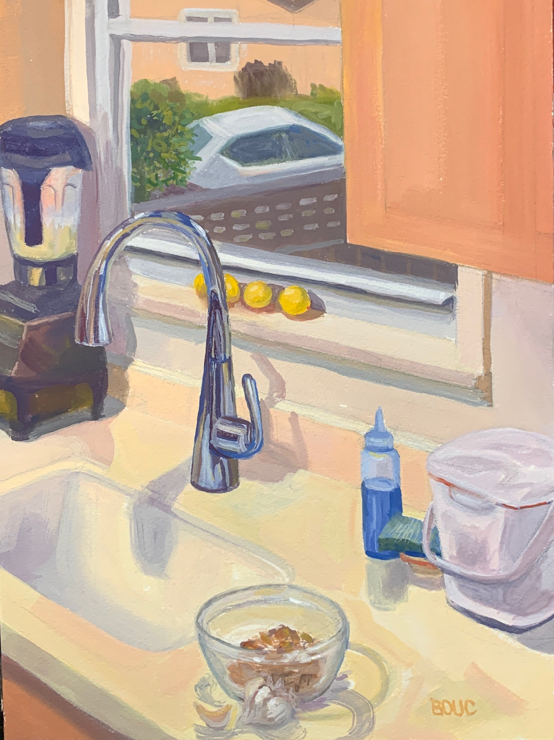 My New Kitchen, gouache on Arches watercolor paper, 12 x 9 inches