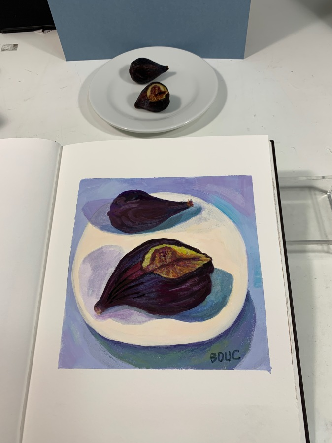 Last figs before pruning, gouache in journal
