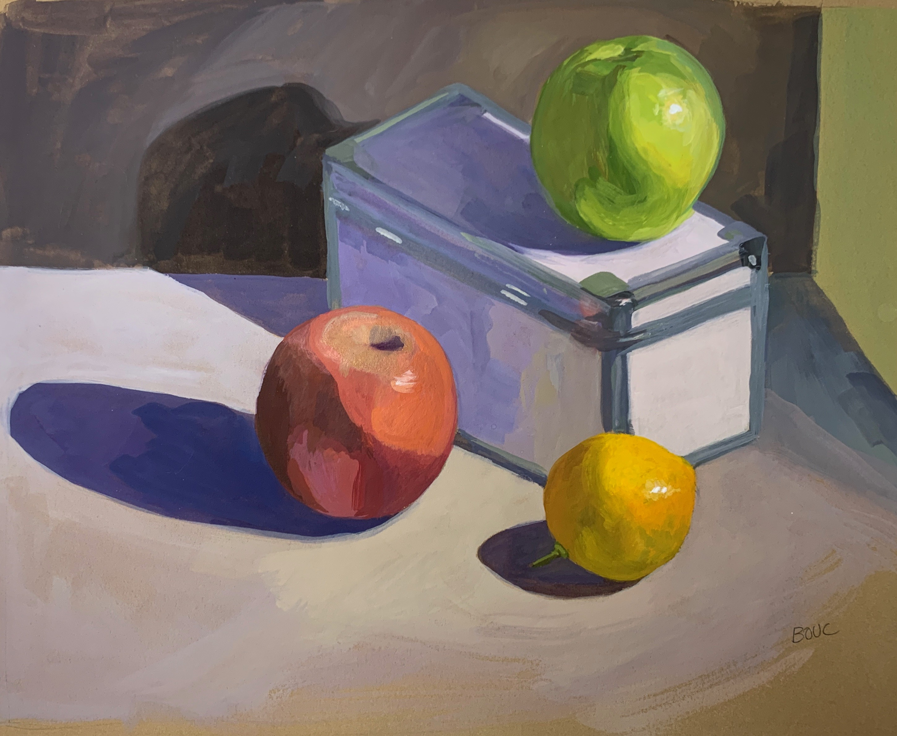 Apple Still life in gouache on Stonehenge Kraft colored paper, 10 x 12 inches