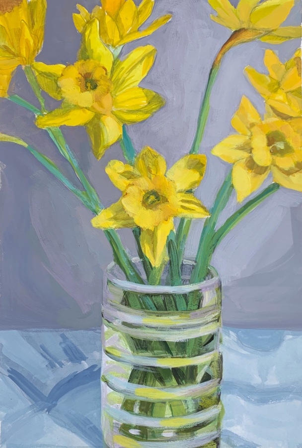 "Daffodils in gouache and acrylic gouache, 8.5"" x 11.5"" on hot press paper"