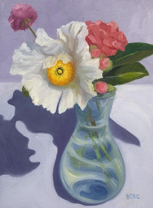 "Matilija Poppy, oil on canvas, 8.5"" x 11.5 inches"