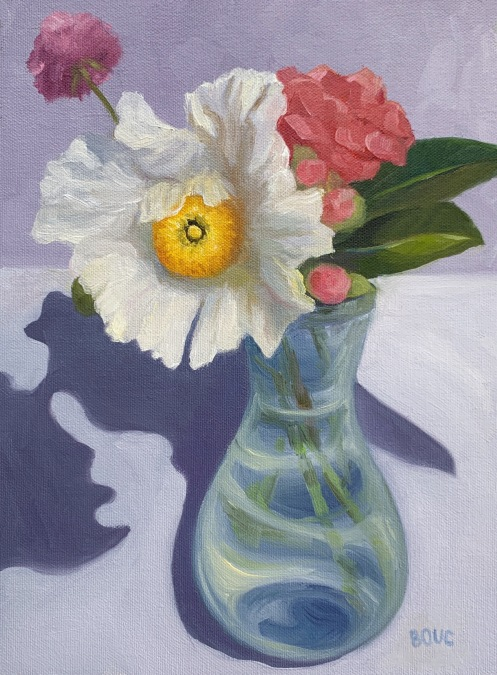 "Matilija Poppy, oil on canvas, 8.5"" x 11.5 inches"