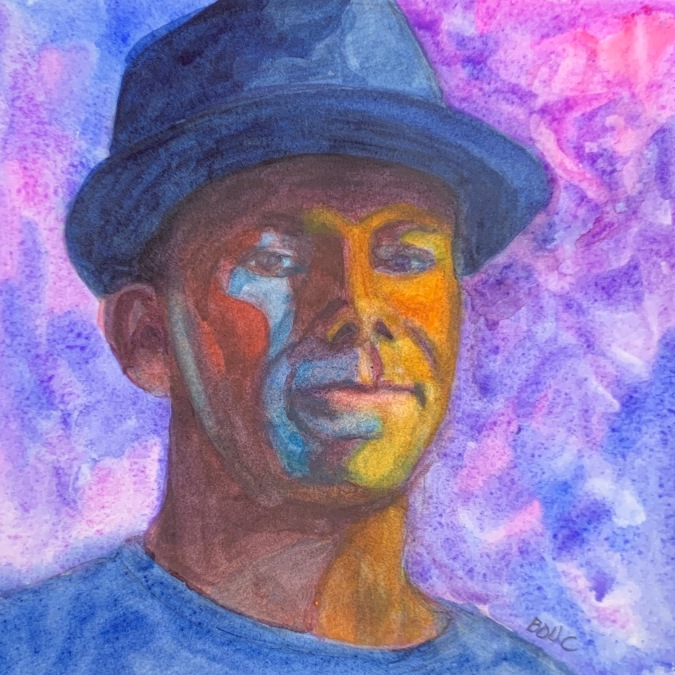 """Facebook """"People You May Know #2"""", watercolor, 7x7 inches"""