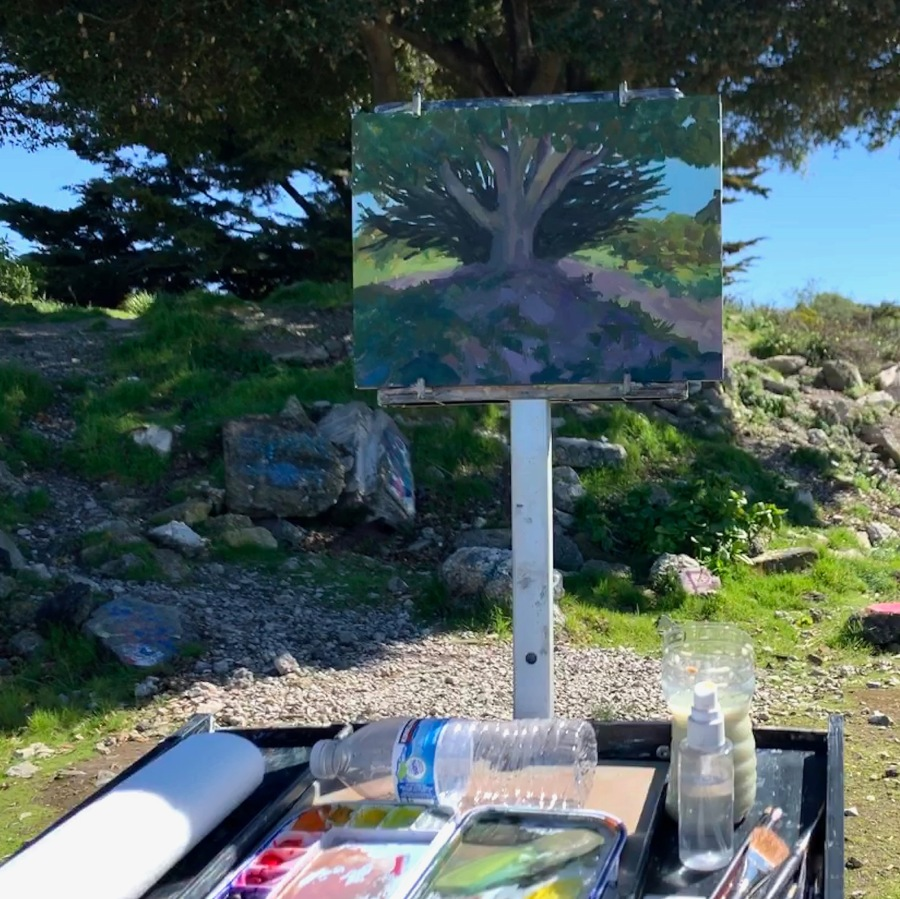 My too dark painting in the sun and my subject tree