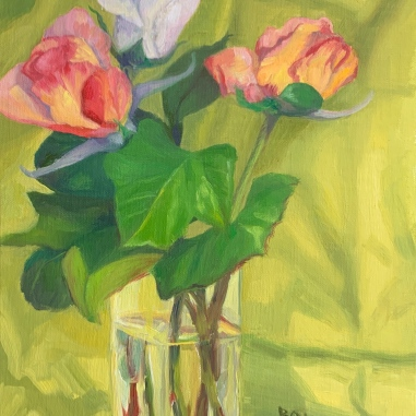 """Spring Rose Series #1"", Oil on Linen Panel, 10×8"""