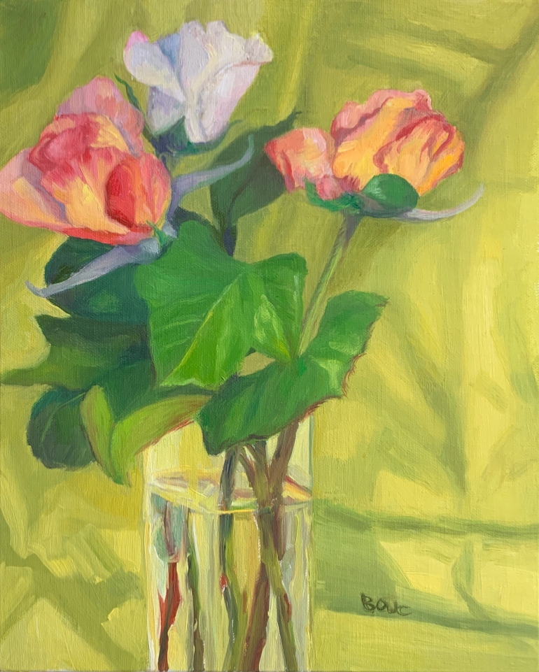 """Spring Rose Series #1"", Oil on Linen Panel, 10x8"""