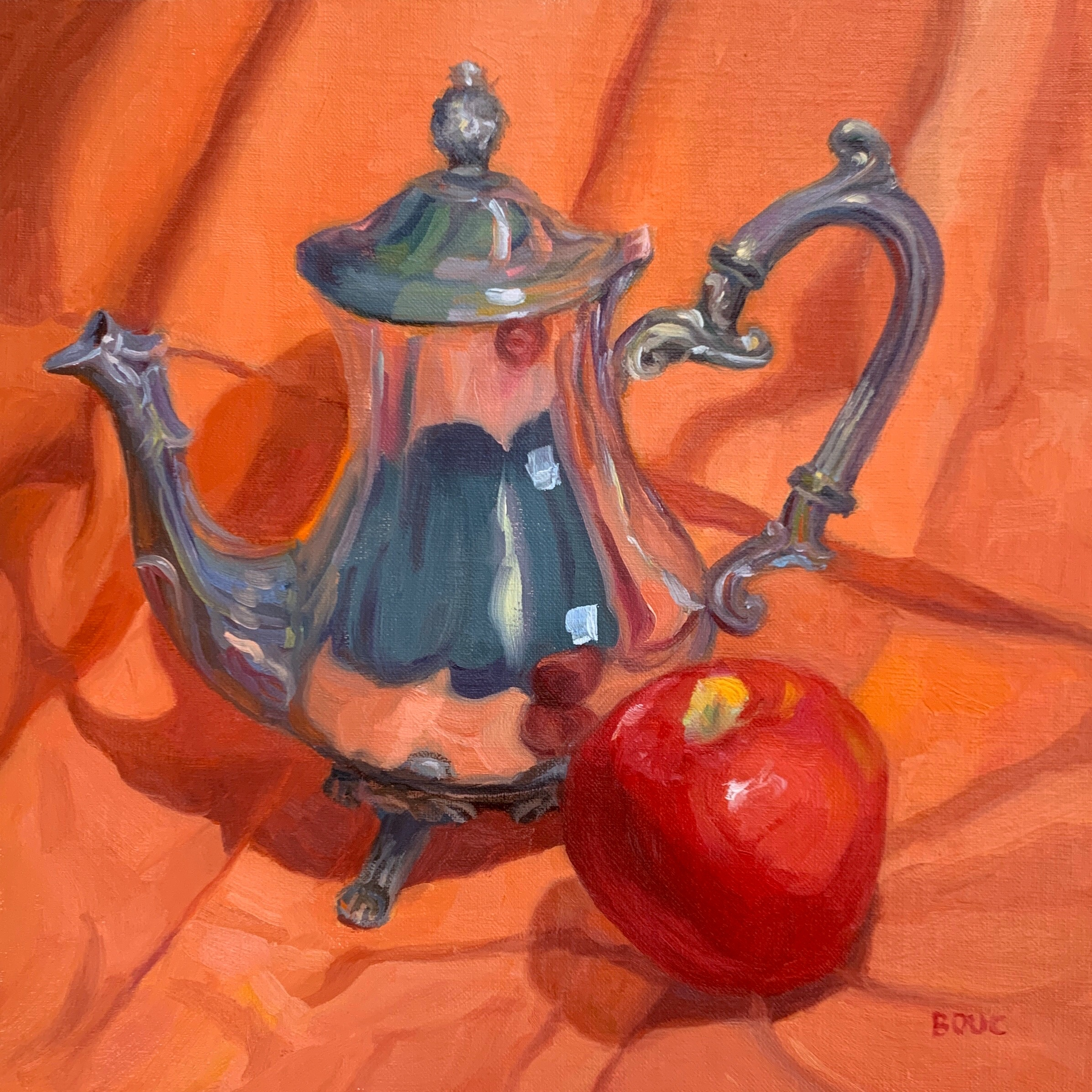 """""""Silver Teapot and Happy Apple"""" Oil on oil-primed linen panel, 10×10"""""""