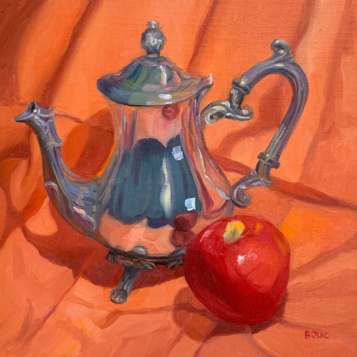 """Silver Teapot and Happy Apple"" Oil on oil-primed linen panel, 10×10"""