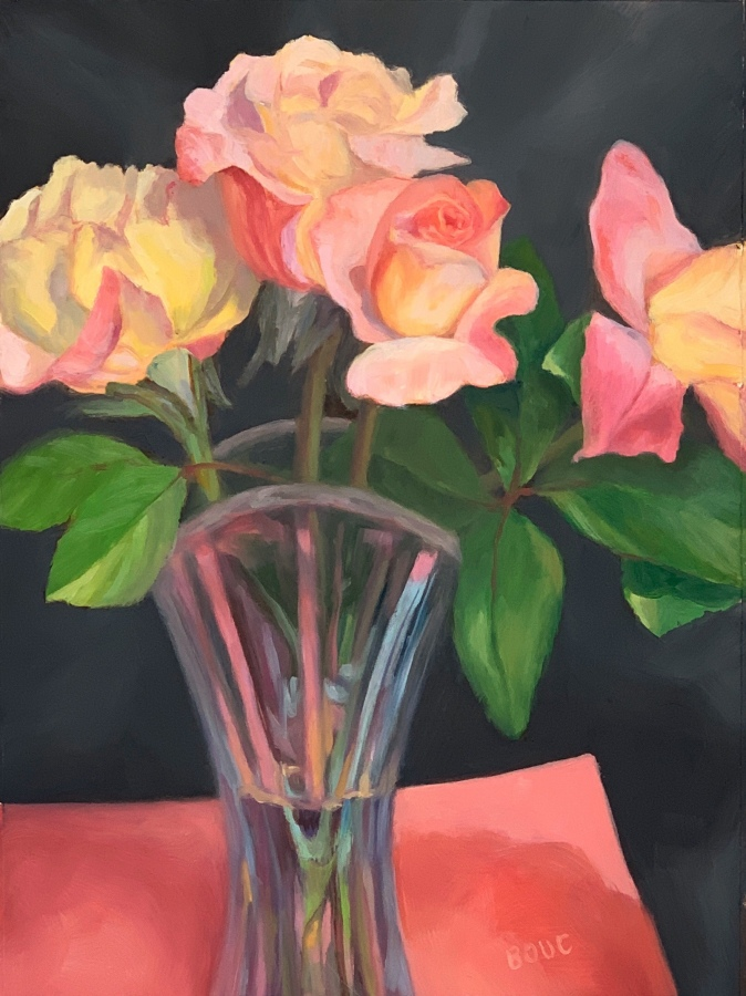"""Spring Rose Series #6"", oil on Yupo, 12x9""."