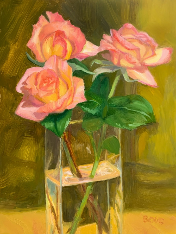 """Spring Rose Series #5"" Oil on Yupo, 12x9"""