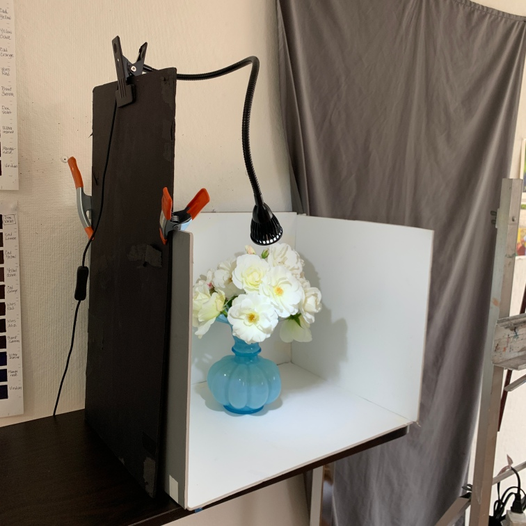 Set up with clamp on LED 3-color lamp