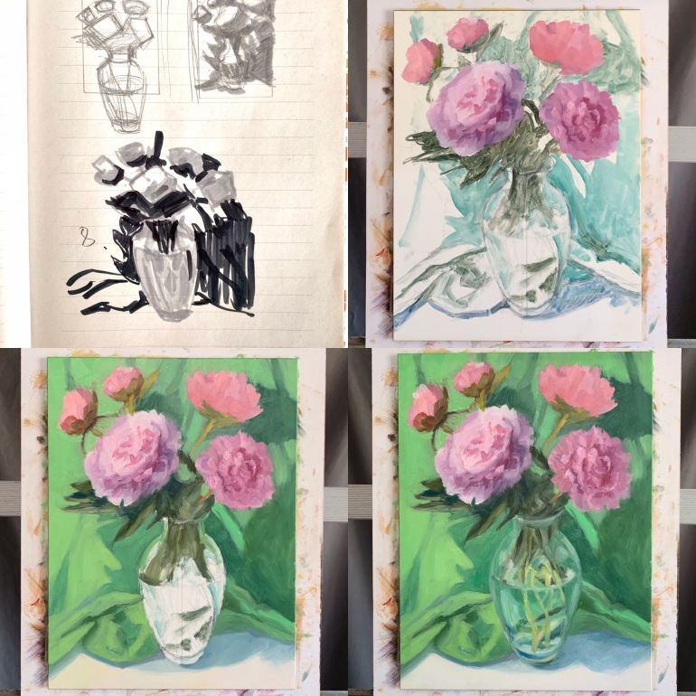 Preliminary sketches, block in of flowers then background, then vase