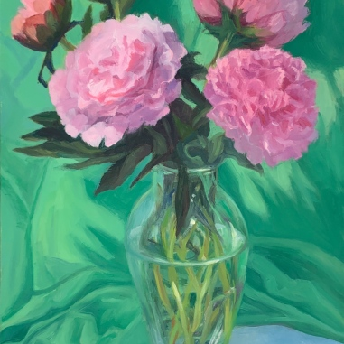"""Allergic to Peonies"""", oil on Gessobord panel, 12×9 inches"""