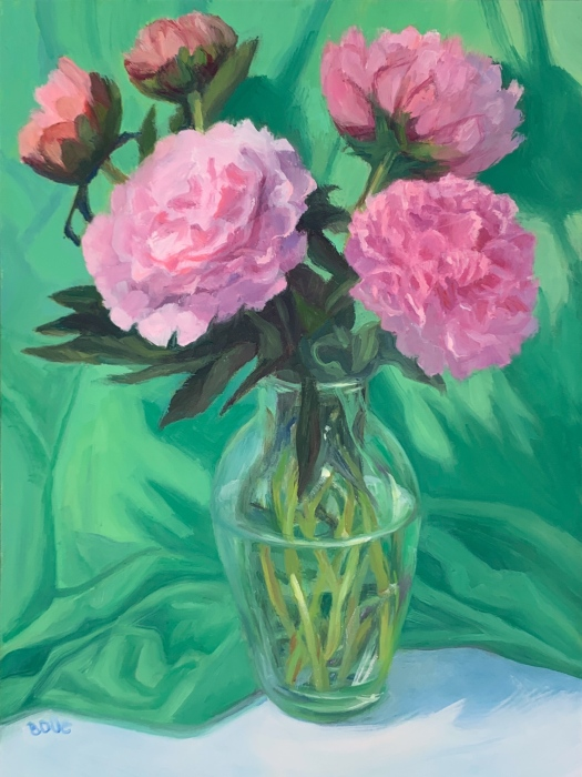 "Allergic to Peonies"", oil on Gessobord panel, 12×9 inches"