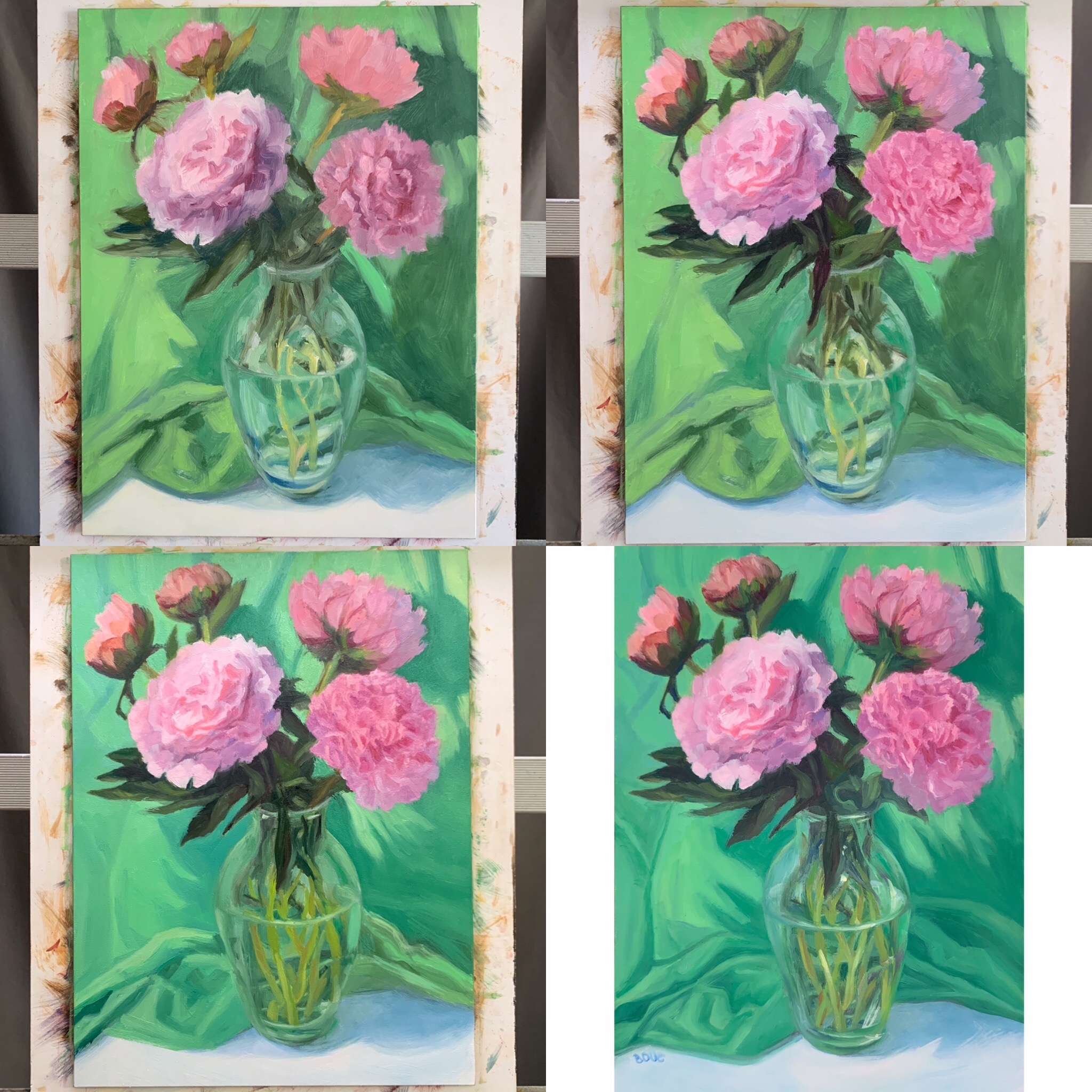 Working on the flowers then the background and the vase to strengthen shapes and values