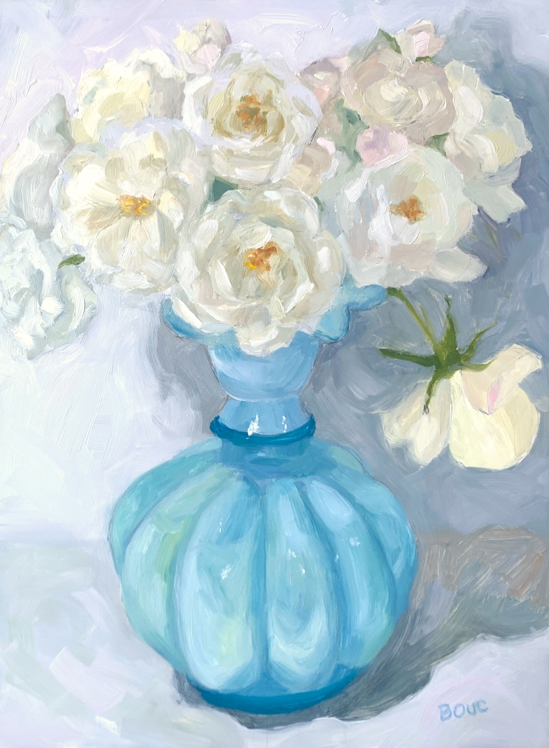 "White Roses: Spring Rose Series #7"" Oil on Yupo, 12x9"""