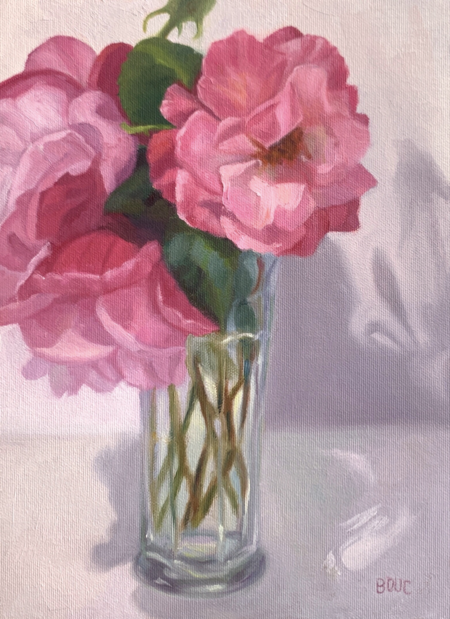 """Mr. Grumpy's Cheery Roses"", painted from life, finished from photo after flowers died, oil on canvas, 12x9"""