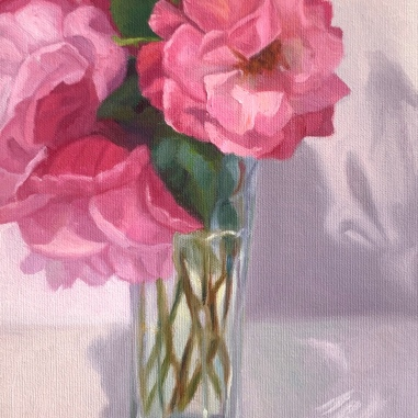 """""""Mr. Grumpy's Cheery Roses"""", oil on canvas, 12×9"""""""