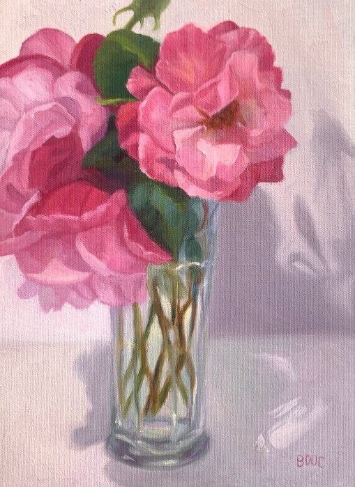 """Mr. Grumpy's Cheery Roses"", oil on canvas, 12×9"""