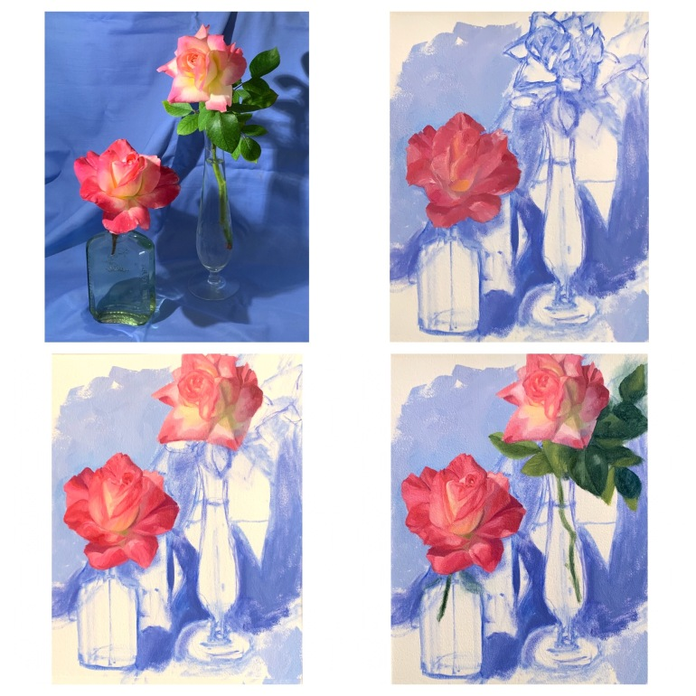 Clockwise from top left: Reference photo, WIP: initial drawing and block-in, second rose added, leaves added.