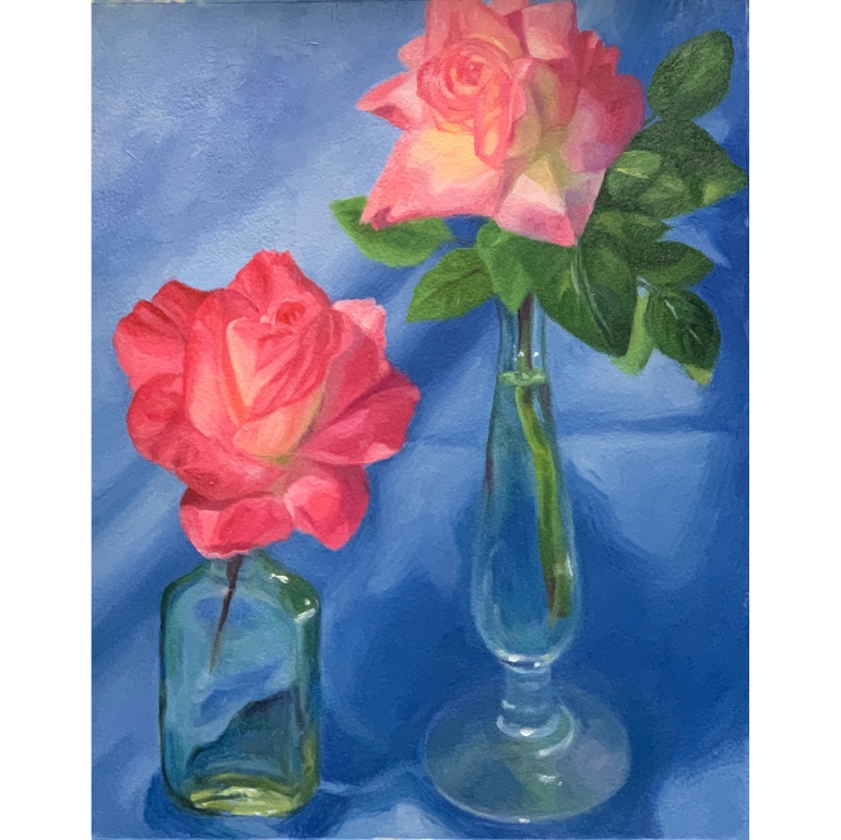 """Roses with Blue Cloth"", oil on Arches Oil Paper, 12x9"""