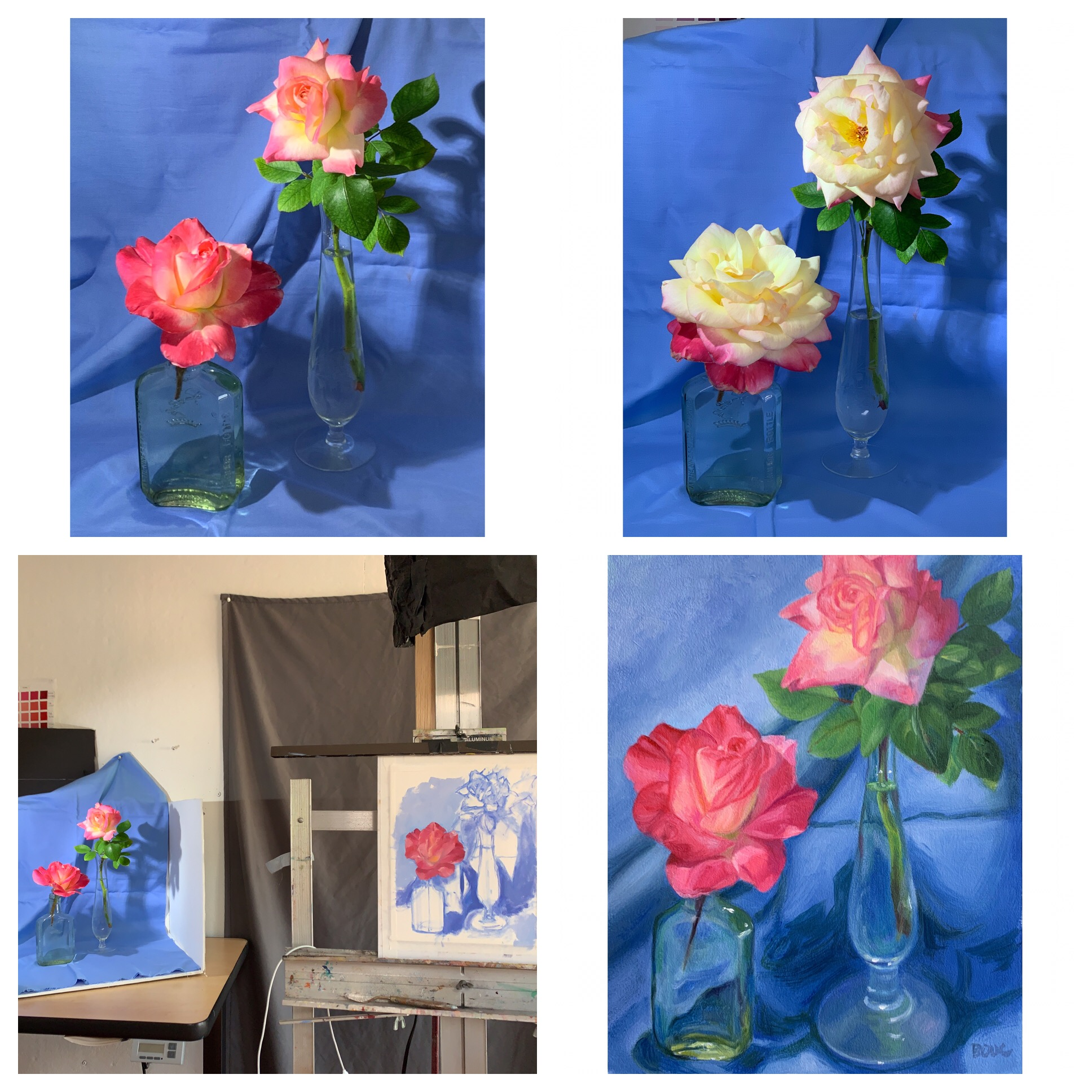 Clockwise from top left: Photo of roses day 1, Photo of same roses day 2, finished painting, WIP day one with setup.