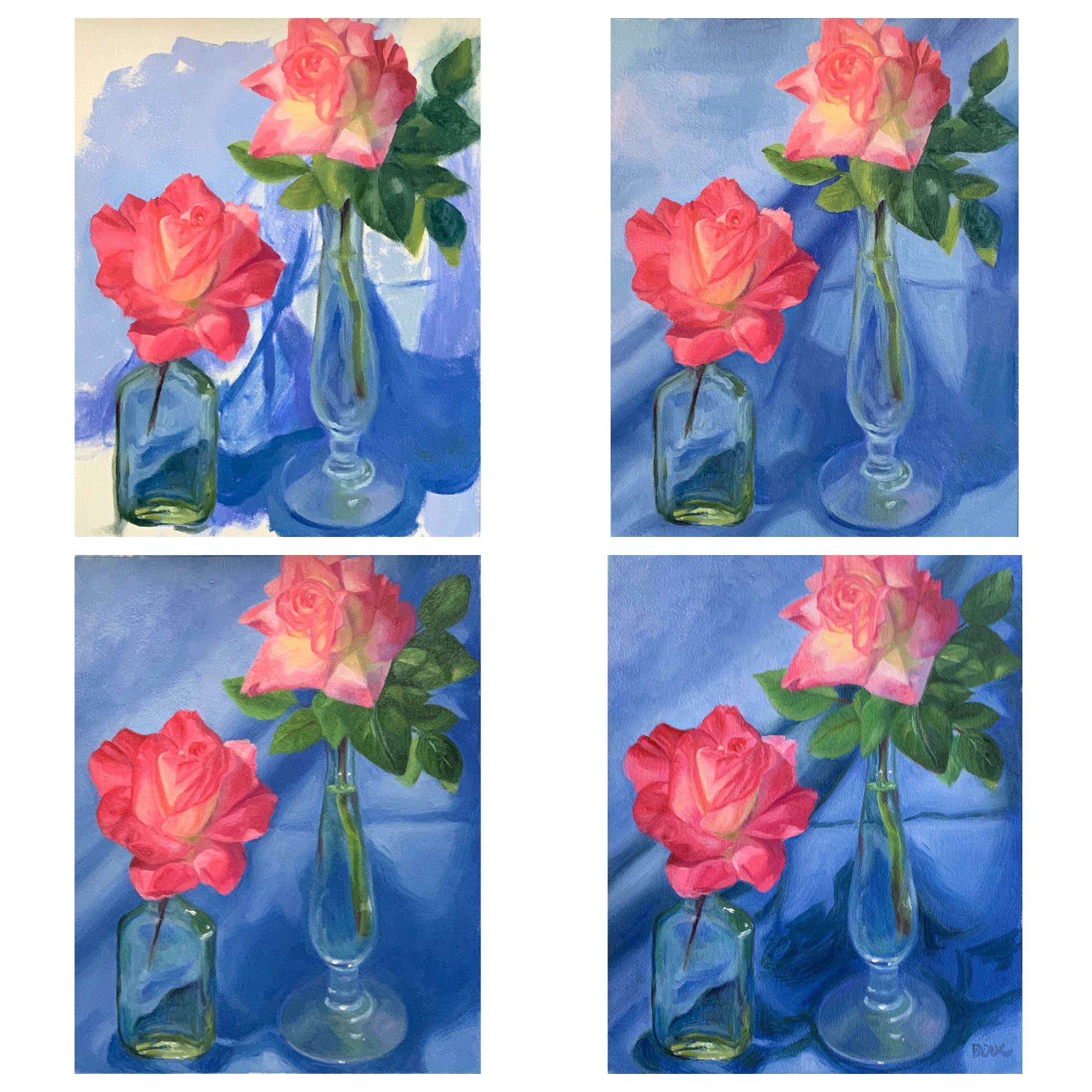 Working on the background and vases, retouching the flowers