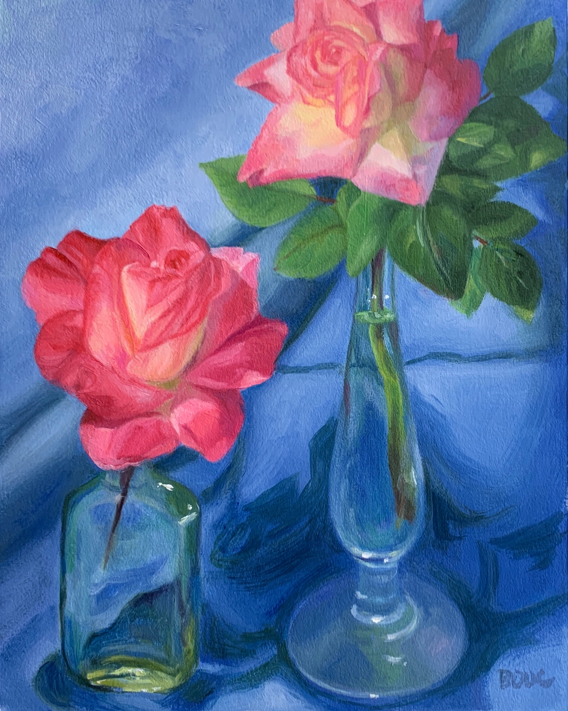 """Roses with Blue Cloth,"""" oil on Arches Oil paper, 12x9"""""""