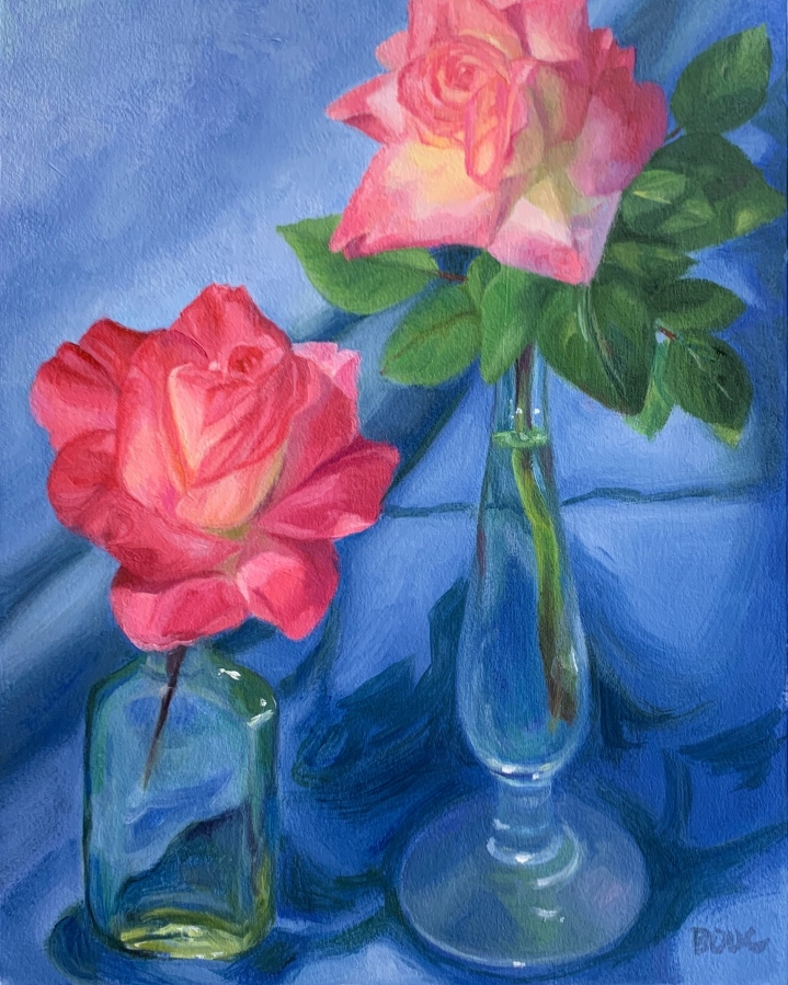 "Roses with Blue Cloth,"" oil on Arches Oil paper, 12x9"""
