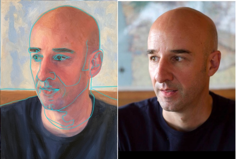 L: Traced photo on top of painting, R: FB photo
