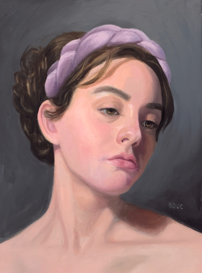 "Hannah W from Sktchy, 14x11"" oil on Arches Oil Paper."
