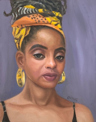 """Portrait of Kori L from Sktchy, 10x8"""" oil on gessoed watercolor paper"""