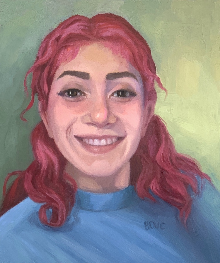"Portrait of Dayris, Oil on Arches Oil Paper, 10""x8.5"""