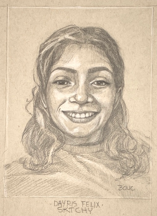 Initial pencil drawing of Dayris, 12x9""
