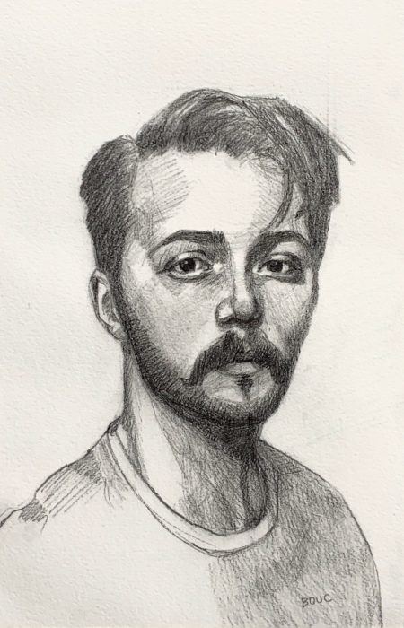 Graphite sketch of Dylan H from Sktchy, 11x7""