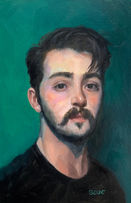 Oil painting and pencil sketch of Dylan H from Sktchy, 11x7.""