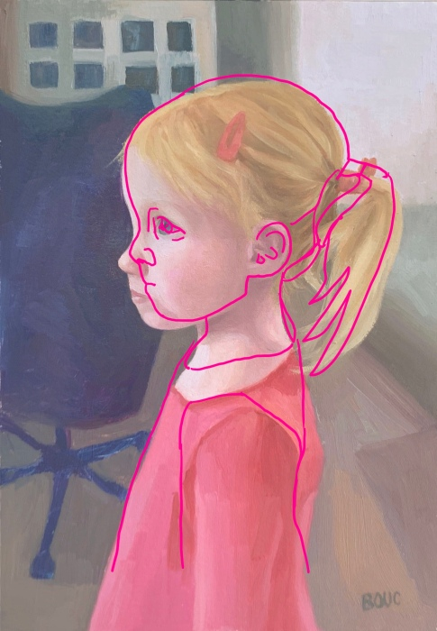 Digital tracing in Procreate of Reference photo over painting.