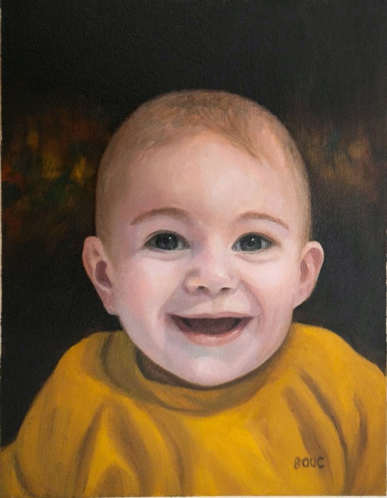 Emi, oil on Arches Oil Paper, 10 x 7.5""