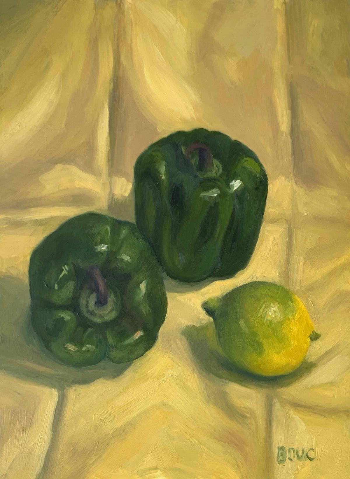 Green pepper and lemon still life