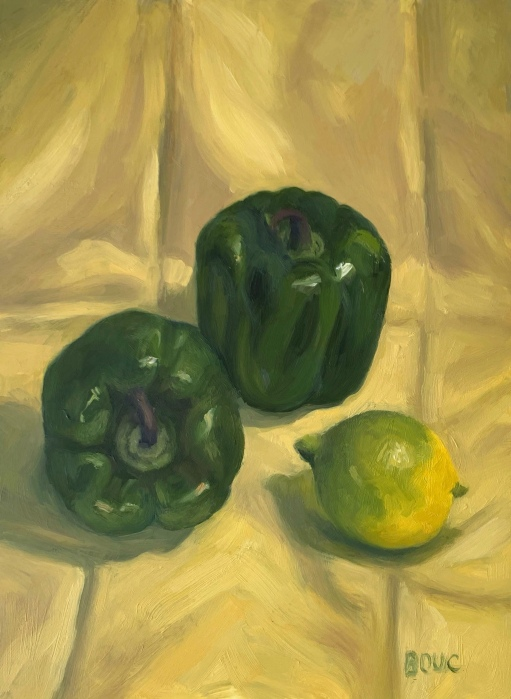 Green Peppers and Green Lemon, oil on Arches Oil Paper