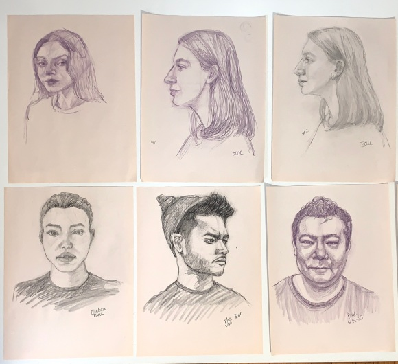 Sketches from early in Head Drawing class with Mike Creighton on Sktchy